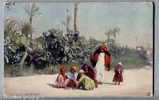 PICTURESQ EGYPT Arab children at play TUCK Oilette 7204 PC Postally used 1905