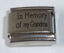 Italian Charm IN MEMORY OF MY GRANDMA With Sympathy Love Gran fits 9mm Bracelets