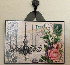 French Paris Chandelier & Pink Rose Postcard Plaque Wall Decor Cottage Chic5 X 7