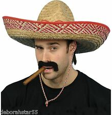 Adult Large Mexican Sombrero Straw Hat Stag Night Fancy Dress Costume Outfit Kit