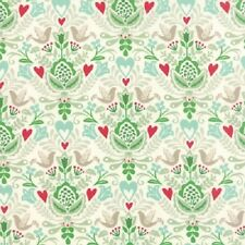 NORTH WOODS HEARTS BIRDS NORDIC CHRISTMAS DAMASK FABRIC