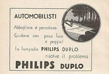 Z0580 Lampada per auto Philips Duplo - Pubblicità del 1930 - Advertising
