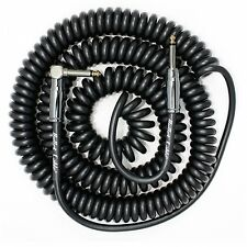 BULLET CABLE  30 FOOT COIL RIGHT ANGLE CURLY GUITAR INSTURMENT CABLE BLACK