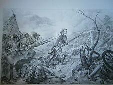 Gravure 19° guerre révolution Général Joubert à la bataille de Rivoli 1796