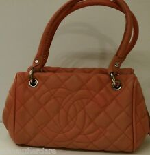 Chanel Orange Pink Caviar Timeless Bowler Tote (Sold As It)