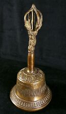 Antique Bronze Tibetan Bell Sand Cast By Hand w Dorje Handle 9 x4.25 In EXC Cond