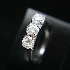 1 CT CLASSIC ROUND 3 STONE DIAMOND ENGAGEMENT RING 18K WHITE GOLD HALLMARKED