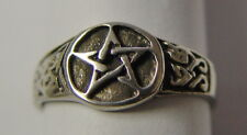 RING: SIZE 9 PENTAGRAM - PEWTER - Wicca Pagan Witch Goth Punk Charmed Occult