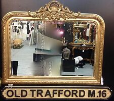 Fabulous large antique gold over ornate crested over mantle mirror. H90cm W104cm