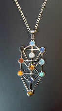 1x Natural Gemstone Kabbalah Tree Of Life Healing Point Chakra Pendant Necklace