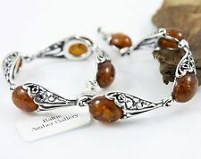 NATURAL BALTIC AMBER STERLING SILVER 925 JEWELLERY BRACELET Certified GIFT BOX