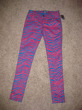 NWT Tripp NYC Hot Topic Size 7 Pink Blue Zebra Faux Leather Pants Punk Emo Goth