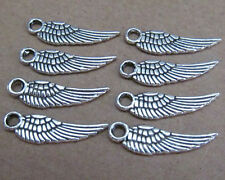 PJ010 50pcs 5*17mm Tibetan Silver Feather Charm Double-sided Beads Wholesale