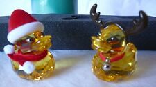 Mint Retired Swarovski Silver Crystal Christmas Happy Ducks Santa and Reindeer