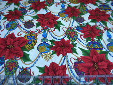 3 Yards Quilt Cotton Fabric - Quilting Treasures Christmas Splendor Ornaments C