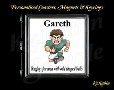 Rugby Player Personalised Drinks Coaster Birthday Novelty Christmas Gift