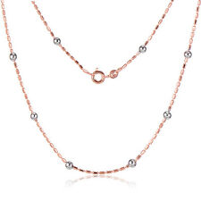 Silver Beads Rose Gold Plated Chain Long Necklace Womens  For Pendant Gift