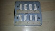 Vintage Industrial Metal Light Switch Factory Antique Deco 8 Gang
