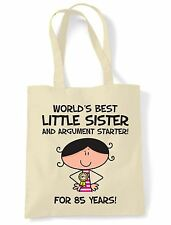 World Best Little Sister 85th Birthday Present Shoulder ToteBag - Gifts For Her