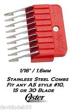 """OSTER A5 STAINLESS STEEL ATTACHMENT GUIDE 1/16""""COMB*Fit Most Andis Clipper&Blade"""