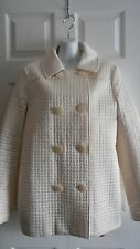 BEBE QUILTED IVORY JACKET SHORT COAT L