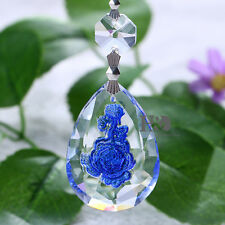 Blue Rose Chandelier Glass Crystals Lamp Prisms Parts Hanging Drop Pendants 50mm