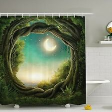 Green Forest Painting Shower Curtain Waterproof Fabric Bathroom Picture 180x180c