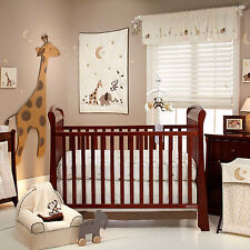 NoJo  Dreamy Nights 4pc Baby Crib Bedding Set - Jungle Giraffe Elephant  Monkey
