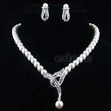 Crystal Rhinestone Pearl Pendant Necklace Earring Wedding Bridal Jewelry Set