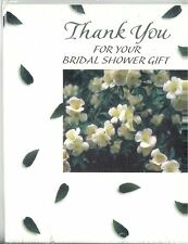 Thank you So Much for Your Bridal Shower Gift 8 Count White Flowers Green Leaves
