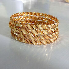 Rabbi Gold Plated 4 Pcs Braided Chandni  Bangles Size 2.6
