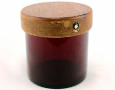 A Pukeberg red glass & teak storage jar. 1950's 60's 70's. Scandinavian