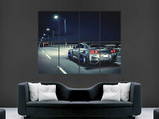 NISSAN GTR CAR POSTER SPEED ROAD CITY NEON LIGHTS ART WALL LARGE IMAGE GIANT