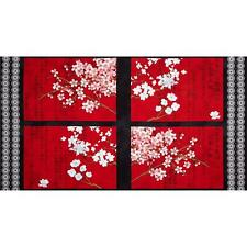Hanami Falls Asian panel Quilt Kit 100% Cotton fabric by Evelia Cherry blossom