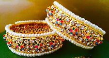 Indian Jewelry  Bangles. Gold Finish. Multi Colour Beads. Kada 2.6-2.8