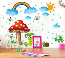 Cute Mushroom House Rainbow Sky Wall Sticker Decal for Nursery Baby Room Decor