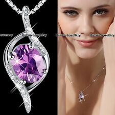 XMAS GIFTS FOR HER Purple Crystal Necklace Women Gifts for Girls Mother Wife K1