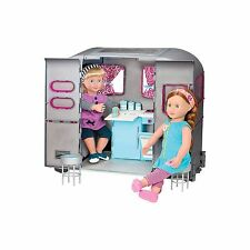 "Our Generation Doll 18"" RV Seeing You RV Doll Camper Trailer Sofa Bed Table NEW"