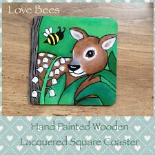 Love Bees Woodland Friends Wooden Coaster *Hand Painted Fawn/Lilly Of The Valley