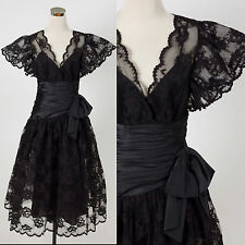 Vintage 1980s black lace/satin party dress DISCO PROM 80s MADONNA GOTH TRASH