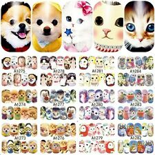 12PCS cute dog cat design full water transfer nail art decoration sticker decals