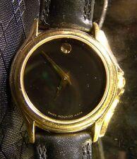 Pretty Ladies Movado Black Gold Museum Dial Elegant Watch 0823