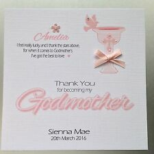 PERSONALISED Handmade THANK YOU GODMOTHER Card CHRISTENING BAPTISM Girl