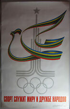 Original Soviet Union 1980 Summer Olympics Poster Peace Dove Moscow USSR 22 X 34