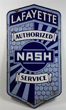 RARE LaFAYETTE Nash Automobile Service Double Sided Porcelain Advertising Sign