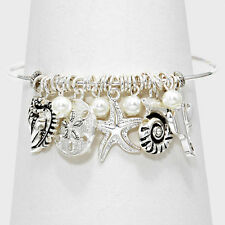 Starfish Bracelet Metal Bangle Charms Sand Dollar Sea Shell SILVER Beach Jewelry