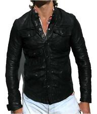 *SUPER RARE* ALL SAINTS DENSIG LEATHER JACKET shirt S RRP £295