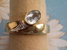 Aquamarin Brillant Ring Gold 585 Gr. 57, Damenring Gold 585 mit Aquamarin Gr.57