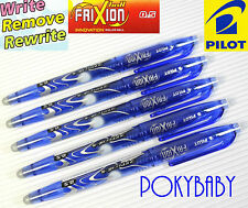 10 pcs Pilot FriXion 0.5mm erasable roller ball pen W/Cap BLUE ink