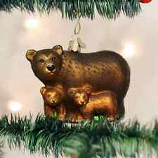 *Bear with Cubs* Grizzly Cubs [12199] Old World Christmas Glass Ornament - NEW